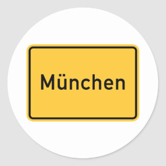Munich, Germany Road Sign Classic Round Sticker