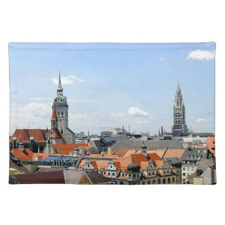 Munich Germany Skyline Cloth Placemat