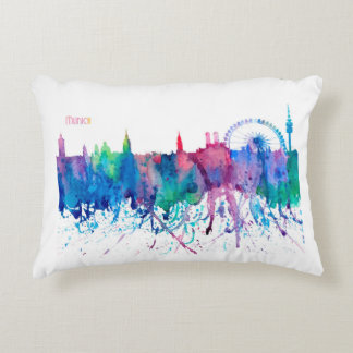 Munich Germany Skyline Impressionistic Blast Accent Pillow