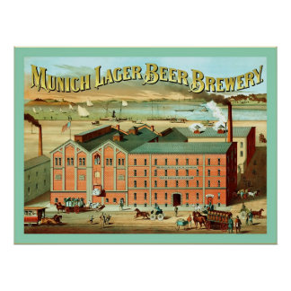 Munich Lager Beer Brewery ~ Vintage Advertising Poster