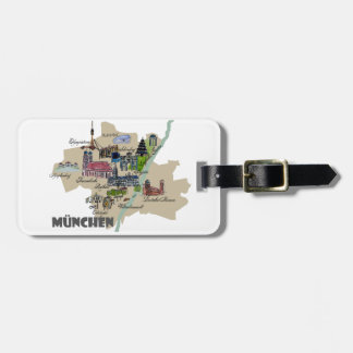Munich Map Overview Bag Tag