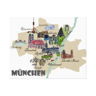 Munich Map Overview Best Of Typical Highlights Canvas Print