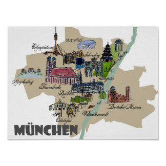 Munich Map Overview Best Of Typical Highlights Poster