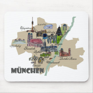 Munich Map Overview Mouse Pad