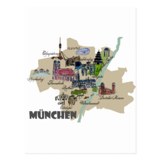 Munich Map Overview Postcard