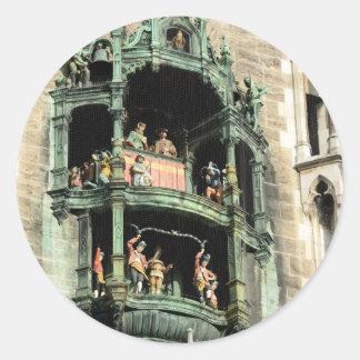 munich neues rathaus glockenspiel round sticker