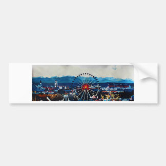 Munich Oktoberfest Panorama With Alps And Giant Wh Bumper Sticker