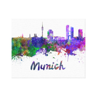 Munich skyline in watercolor canvas print