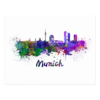 Munich skyline in watercolor postcard