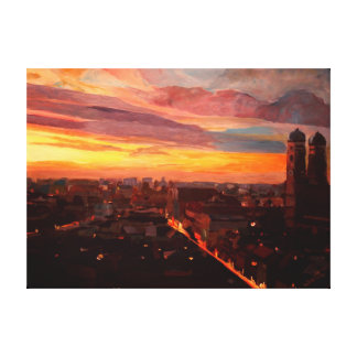 Munich Sunset with Church of Our Lady Canvas Print