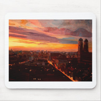 Munich Sunset With Church Of Our Lady Mousepad
