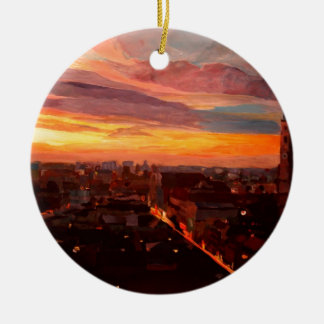 Munich Sunset With Church Of Our Lady Double-Sided Ceramic Round Christmas Ornament