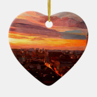 Munich Sunset With Church Of Our Lady Double-Sided Heart Ceramic Christmas Ornament