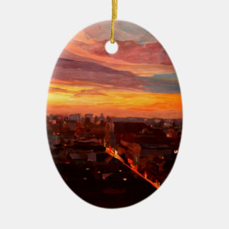 Munich Sunset With Church Of Our Lady Double-Sided Oval Ceramic Christmas Ornament