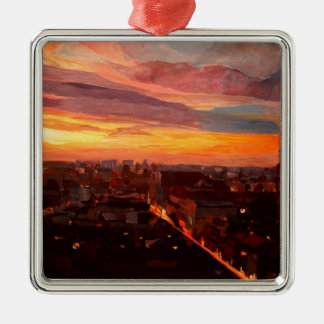Munich Sunset With Church Of Our Lady Square Metal Christmas Ornament
