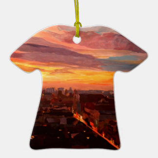 Munich Sunset With Church Of Our Lady Double-Sided T-Shirt Ceramic Christmas Ornament