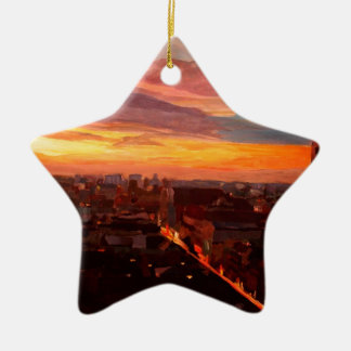 Munich Sunset With Church Of Our Lady Double-Sided Star Ceramic Christmas Ornament