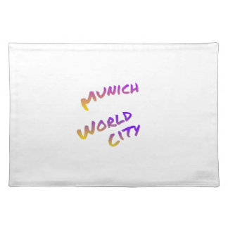 Munich world city, colorful text art cloth placemat