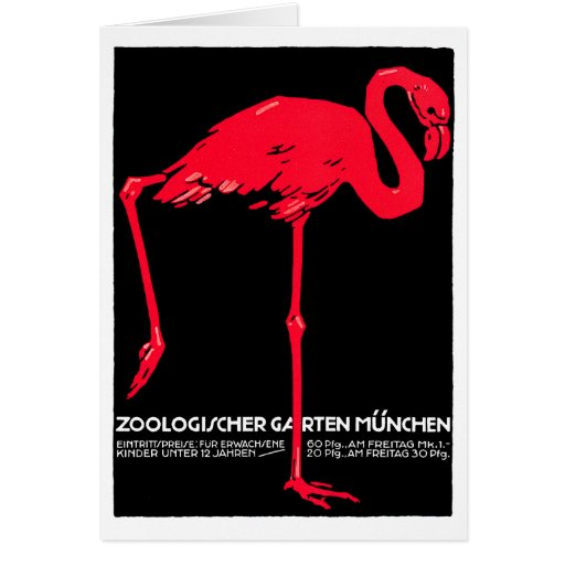 Munich Zoo Garden Flamingo Travel Art Card