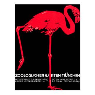 Munich Zoo Garden Flamingo Travel Art Post Cards