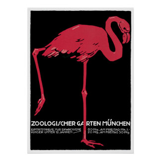 Munich Zoo Germany Vintage Travel Poster