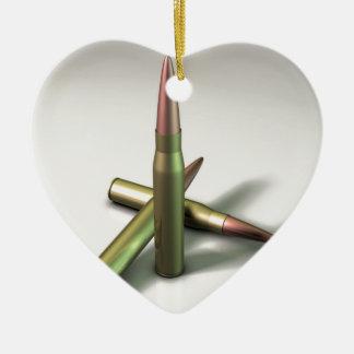 Munición de la bala adorno navideño de cerámica en forma de corazón