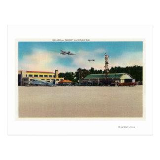 Municipal Airport Landing Field Scene Postcard