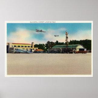 Municipal Airport Landing Field Scene Print