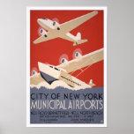 Municipal Airports, 1936. Vintage Air Travel Poster