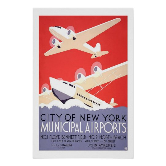 Municipal Airports New York US USA Vintage Travel Poster