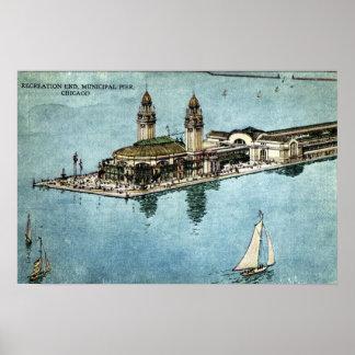 Municipal Pier Chicago Illinois Postcard 1925 Poster