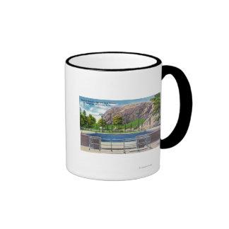 Municipal Pool View of Rock Rimmon Coffee Mugs