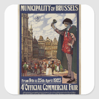 Municipality of Brussels  Propaganda Poster Square Sticker