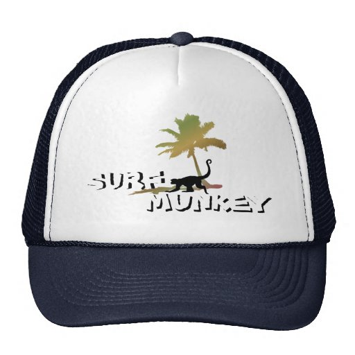 Munkey on the Beach design on trucker hat