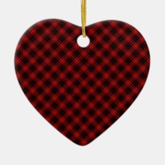 Munro Clan Tartan Designed Print Double-Sided Heart Ceramic Christmas Ornament