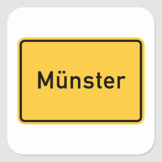 Munster, Germany Road Sign Square Sticker