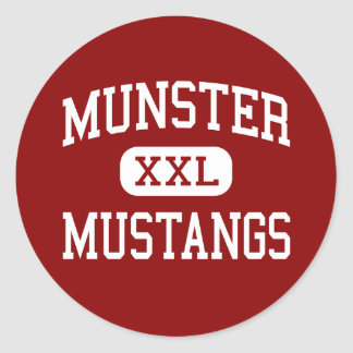 Munster - Mustangs - High School - Munster Indiana Round Sticker