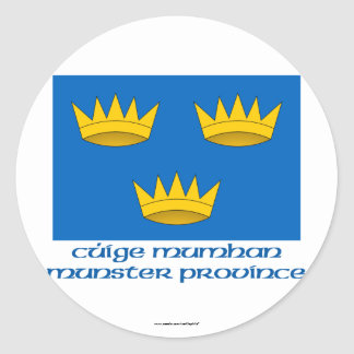 Munster Province Flag with Name Round Stickers