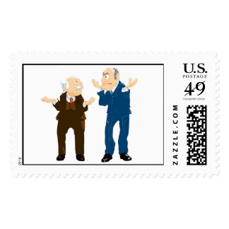 Muppets Sattler And Waldorf looking at each other Postage Stamps
