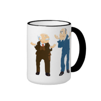 Muppets Sattler And Waldorf looking at each other Ringer Coffee Mug