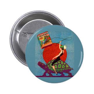 Murad cigarettes lady riding giant tortoise pinback button