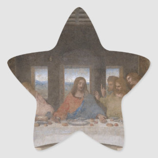 Mural 1490s de Leonardo da Vinci de la última cena Pegatina En Forma De Estrella