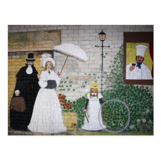 Mural al aire libre de la pared en una postal del