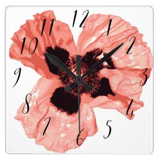 Mural clock Square Poppy