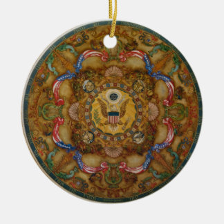 Mural & coffers Ceiling Dome in Jefferson Building Double-Sided Ceramic Round Christmas Ornament