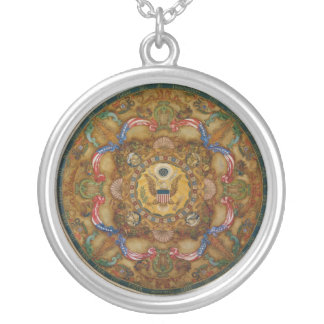Mural & coffers Ceiling Dome in Jefferson Building Round Pendant Necklace