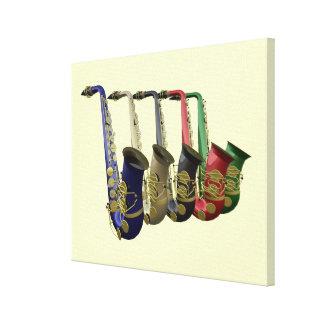 Mural colorido de la música de cinco saxofones lona envuelta para galerias