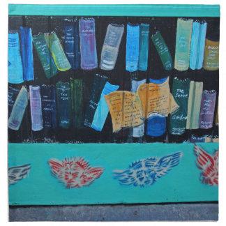 Mural de la biblioteca servilletas imprimidas