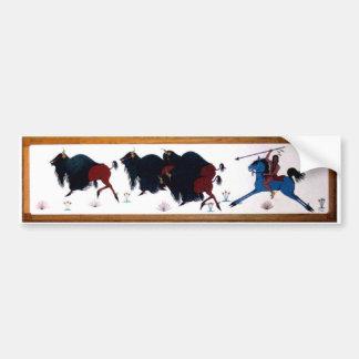 Mural de la caza del búfalo de Charlee del estalli Pegatina Para Auto