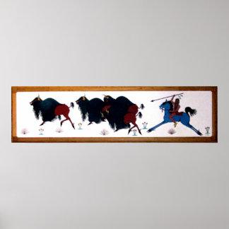 Mural de la caza del búfalo de Charlee del estalli Impresiones